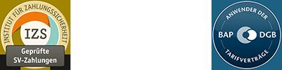 SERV.FIT label: IZS geprüfte SV-Zahlungen, BAP | DGB Anwender der Tarifverträge, DIN EN ISO 9001
